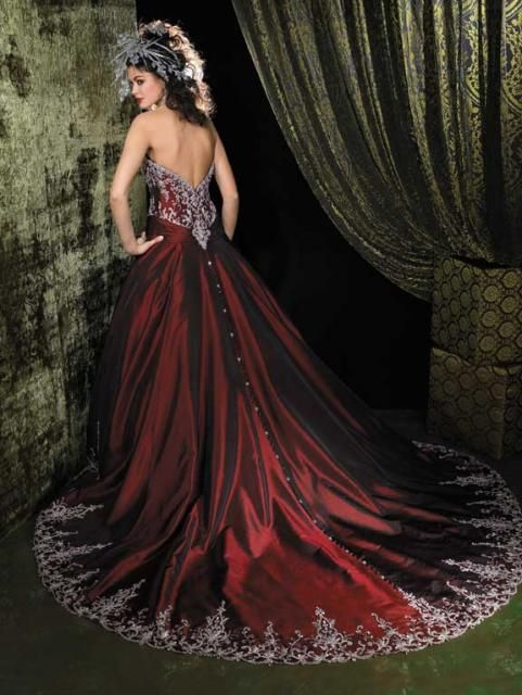 Can you tell I love deep red wedding gowns :) ?
