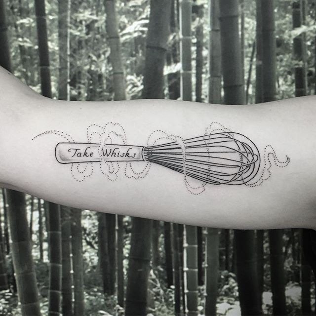 "A reminder to "" Take Whisks "" for @nikitaspf ✌️ #tattoo #whisk #takerisks #ifnotforgravity @ninjaflowertattoo"