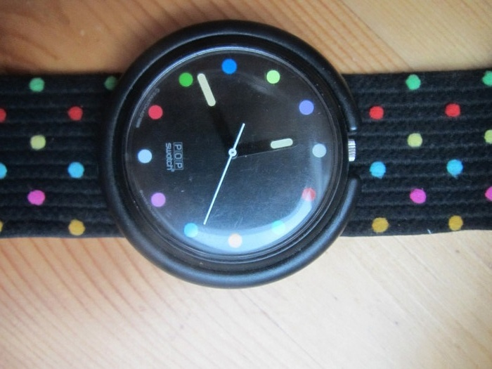 Original 90er oder 80er Swatch Pop Art Uhr Punkte Polka Dots Bunt