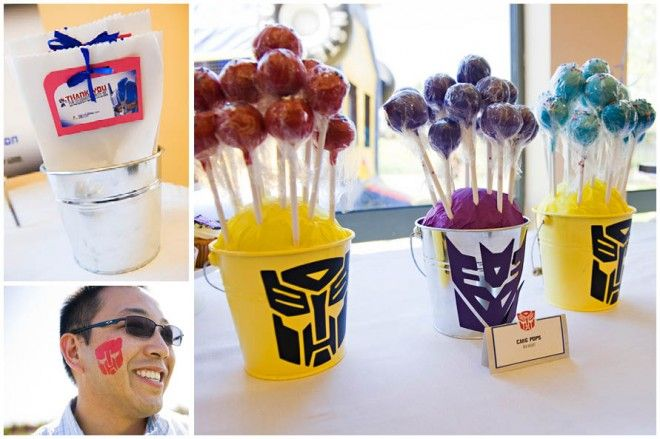 Cut out a vinyl stencil of the transformers logo, then use a sponge brush for facepainting!