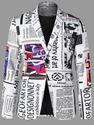 Newspaper Graphic Lapel Blazer Jacket In 2020 Mens