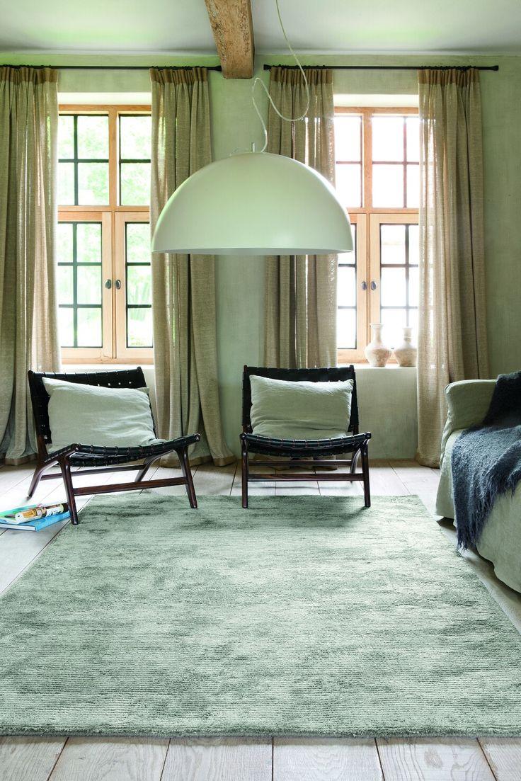 Tappeti tinta unita verde acqua 170 x 240 cm composizione lana e viscosa
