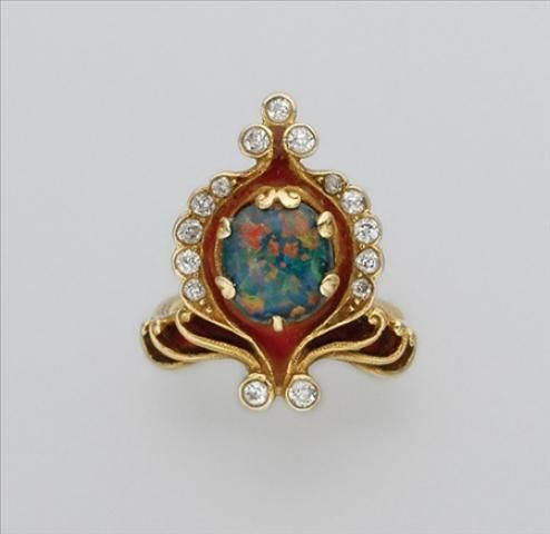 Art Nouveau Gold, Black Opal, Diamond and Enamel Ring for Sale at Auction on Mon, 04/23/2007 - 07:00 - Important Estate Jewelry | Doyle Auction House