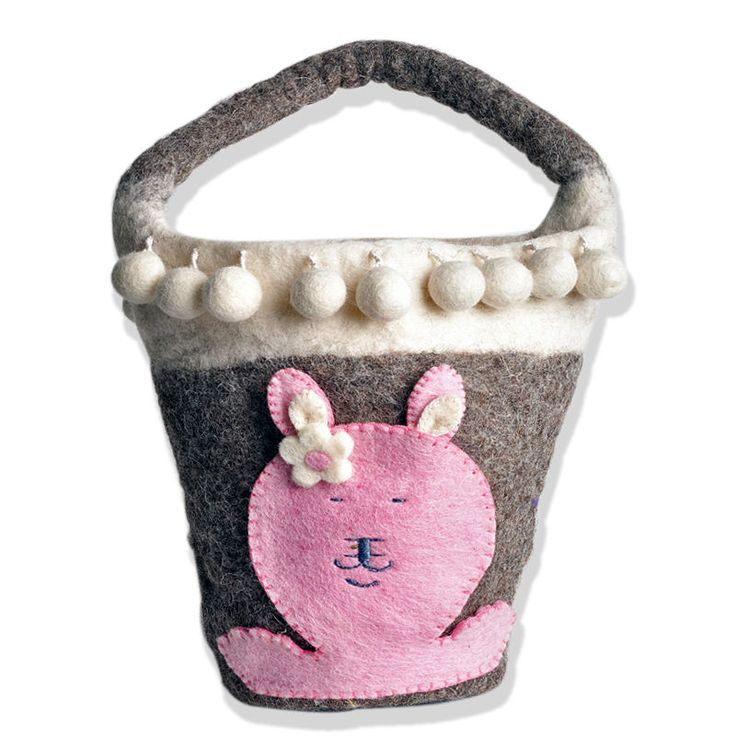 Én Gry & Sif Πασχαλινό Καλάθι για Αυγά Γκρι με Απλικαρισμένο Ροζ Κουνελάκι 24cm - Sunnyside