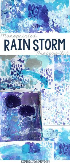 Create a monoprinted rainstorm. A fun activity for a weather unit!