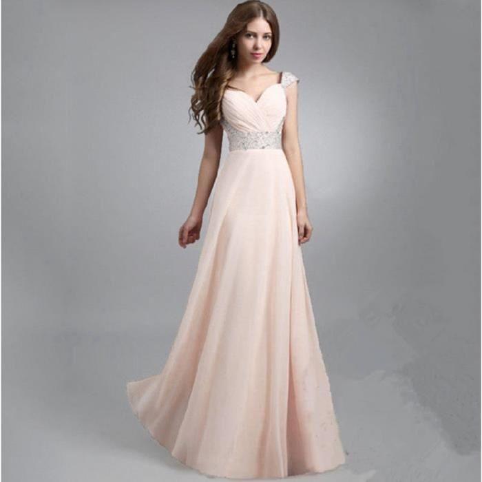 Robe longue rose pale pas cher