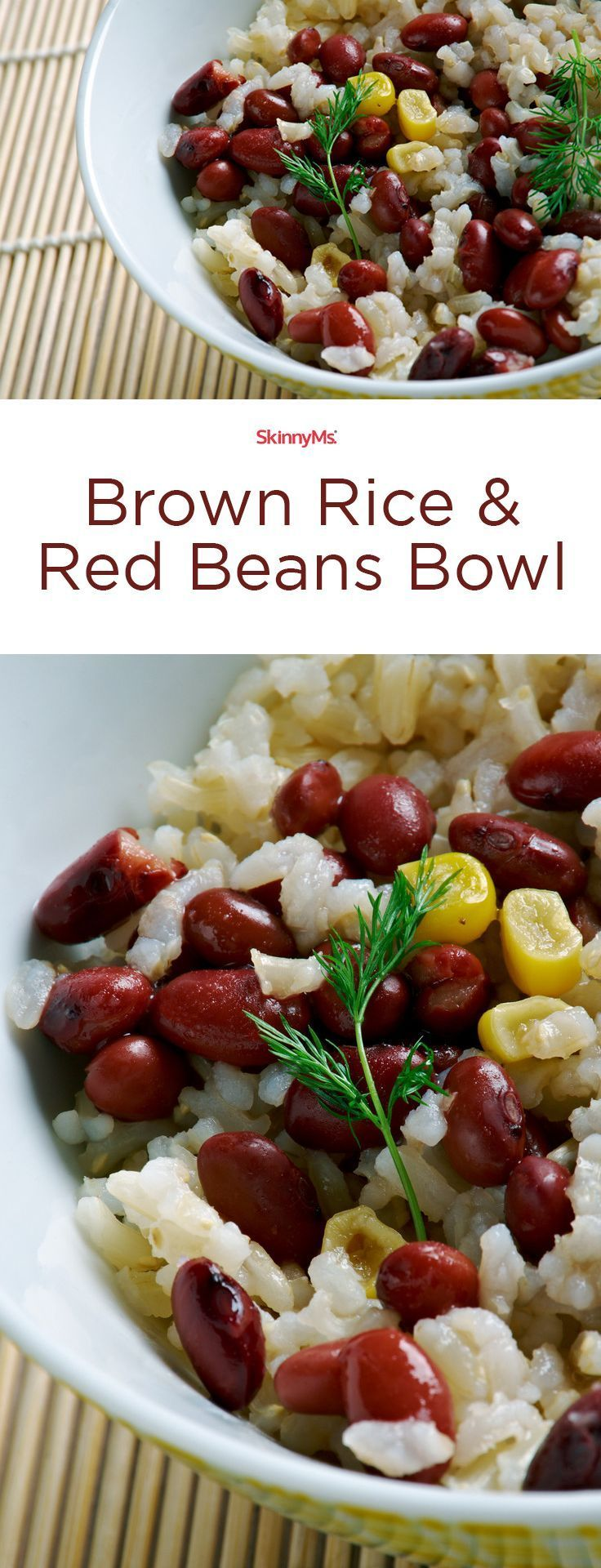If youre a fan of burrito bowls, youll love this flavorful, nutrient-rich Brown Rice & Red Beans Bowl! Soooo addictive. #skinnyms