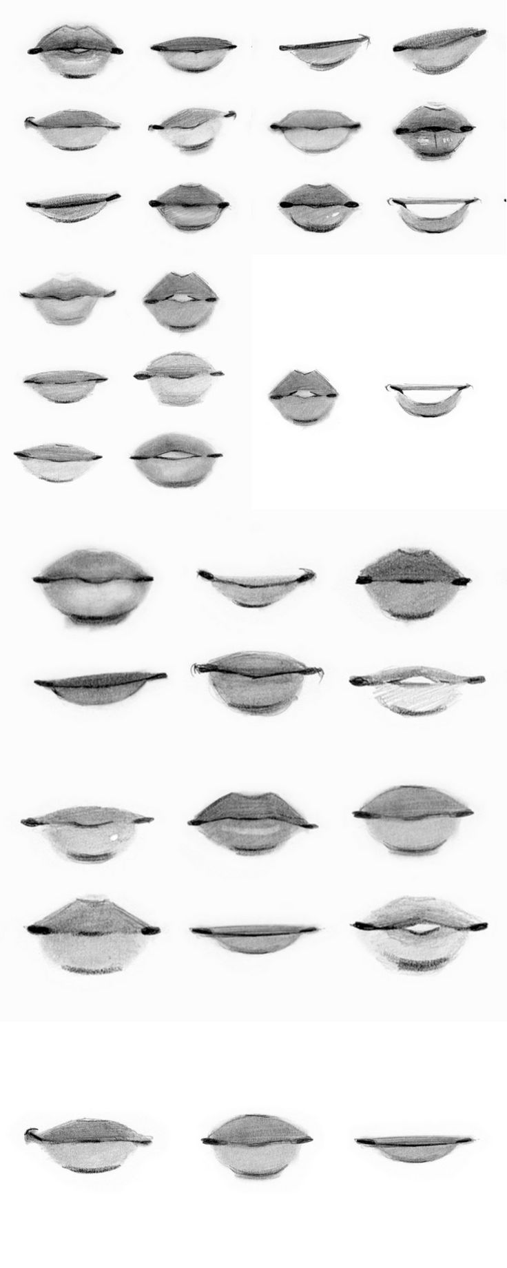 these are some mouth references from a class by Gabrielle DeCesaris. (Portrait Artist)
