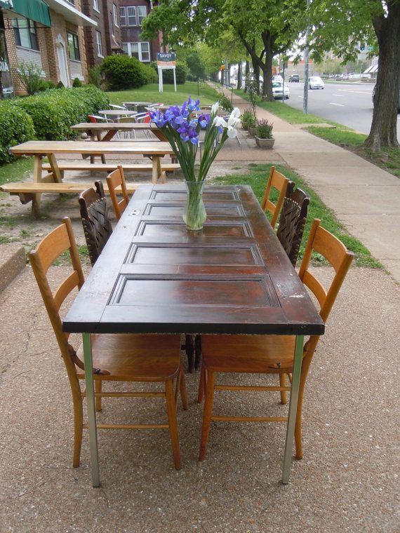 "Dreamed about making a table like this for my sisters ""Patio Poker Party"" - reclaimed door table"