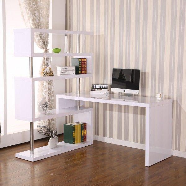 Homcom Foldable Rotating Corner Desk And Shelf Combo White Home Office Storage Rotating Corner Desk With Shelves L Shaped Desks Aosom Desk Shelves Home Hobby Desk