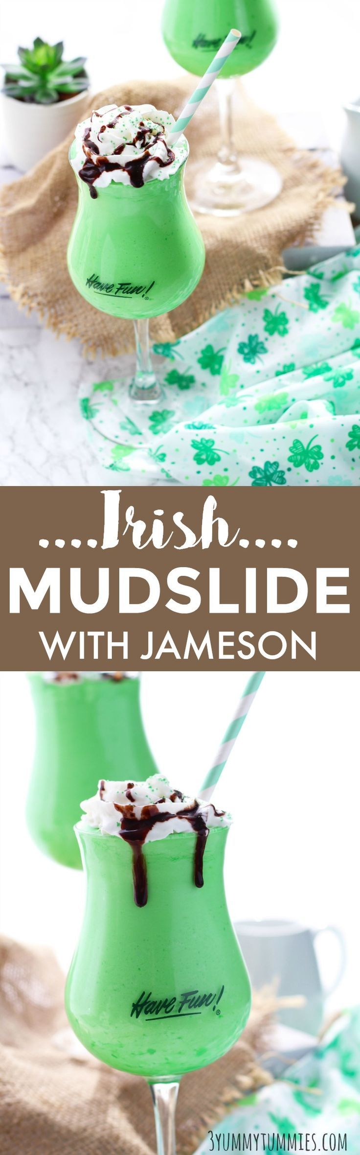 An Irish Mudslide with Jameson and Baileys is a decadent St. Patrick's Day cocktail. #greencocktail #cocktails #stpatricksday #mudslide