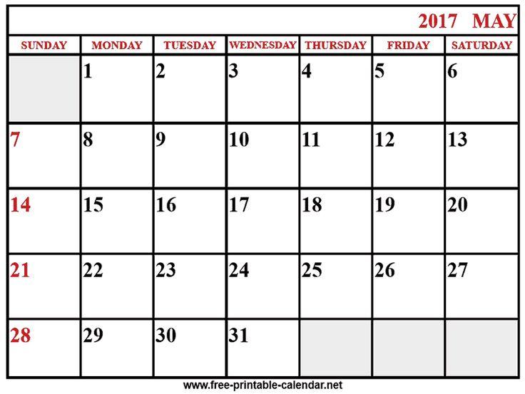 2017 calendar may