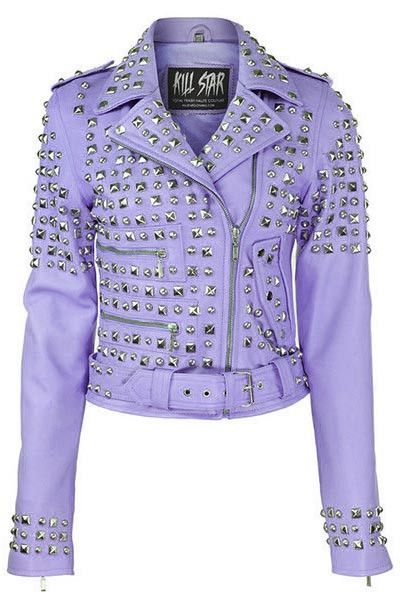 New Handmade Purple Color Women's Silver Studded Bikers Leather Jacket
