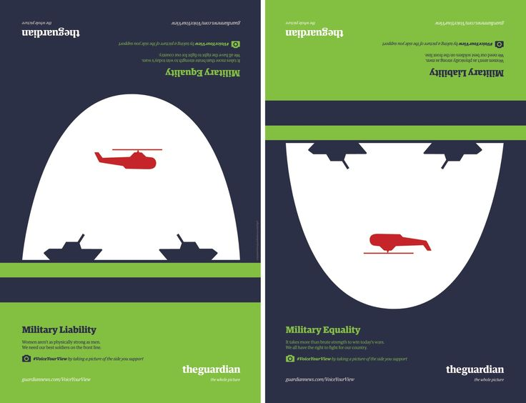 The outdoor ad campaign uses the illustrations of Noma Bar to depict both sides of a core political debate in the US: individual freedom versus government regulation. Each illustration represents one side of an issue; when flipped it cleverly illustrates the opposite view. People are encouraged to take a photo of the side they support and upload the photo to Instagram and/or Twitter using the hashtag #VoiceYourView.