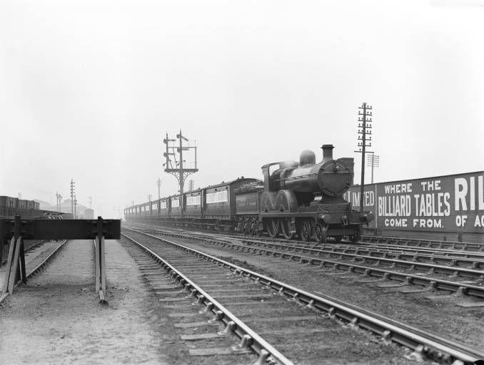 Steam locomotive and goods train at Accrington, 1914