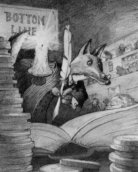 One of a suite of 10 illustrations for an educational book about the global economy. Graphite on paper (about A3).