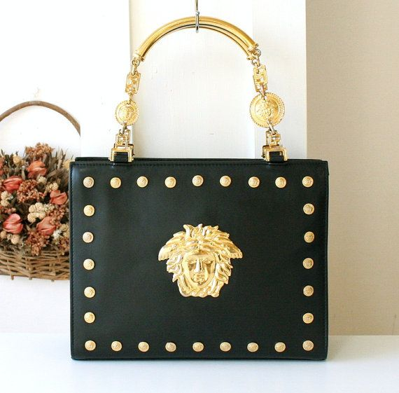 Versace Bag Gianni Versace Couture Leather Black Metal Medusa Vintage Handbag