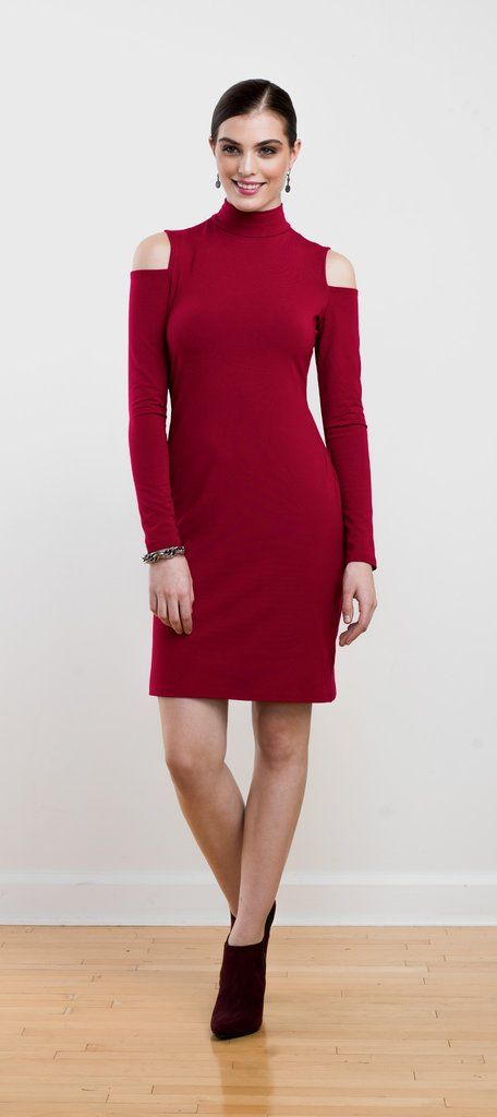Sophisticated and sexy fitted cold-shoulder dress in red, perfect for holiday parties