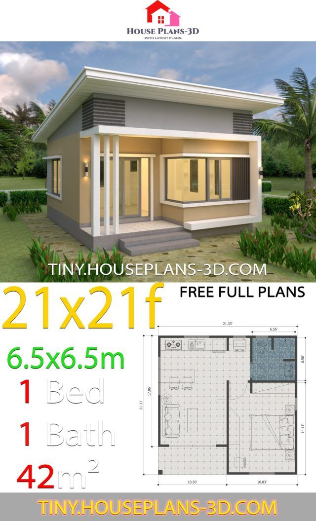 House Plans 21x21 Feet 6 5x6 5m Shed Roof Tiny House Plans In 2020 One Bedroom House One Bedroom House Plans Small House Plans