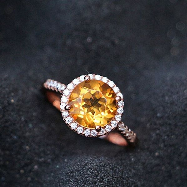 Cool Fancy K Rose Gold Round Cut mm Citrine Halo Engagement Ring November Birthstone Citrine Gift