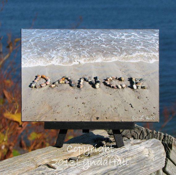 Beach Theme Sentiment DANCE Photo on Small Black Wood Easel, Beach Stone Word, gift for DANCER, beach gift, coastal dorm décor, word art on Etsy, $18.00