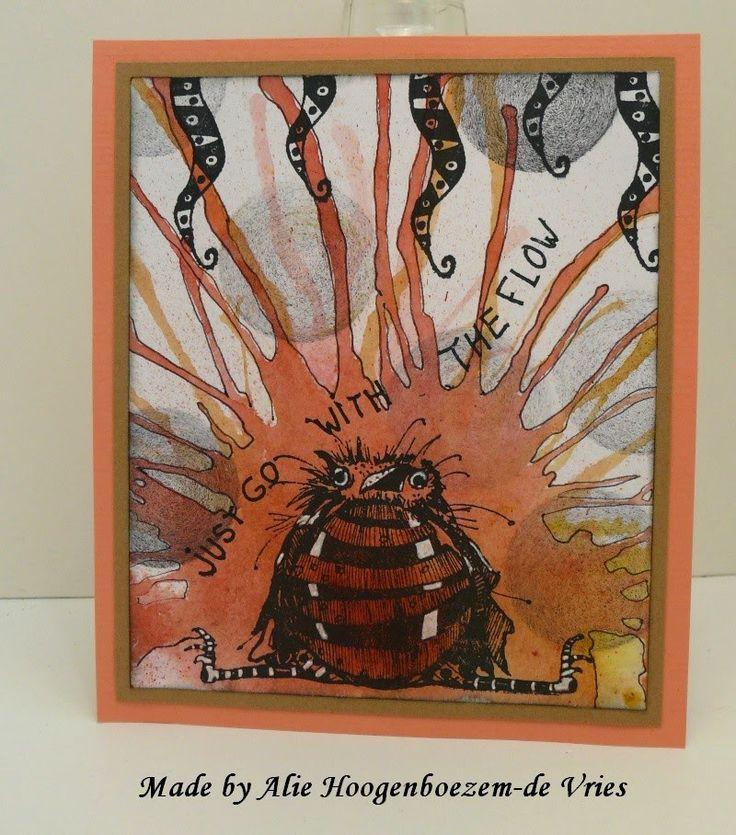 Stamped card with Bistre - Bister, a Viva Las VegaStamps bird and Stampinback.nl stamps, made by Alie Hoogenboezem-de Vries