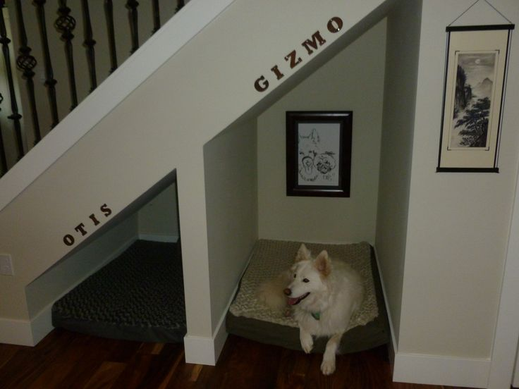 Dog nooks under the stairs - best idea ever & our pooches love them!