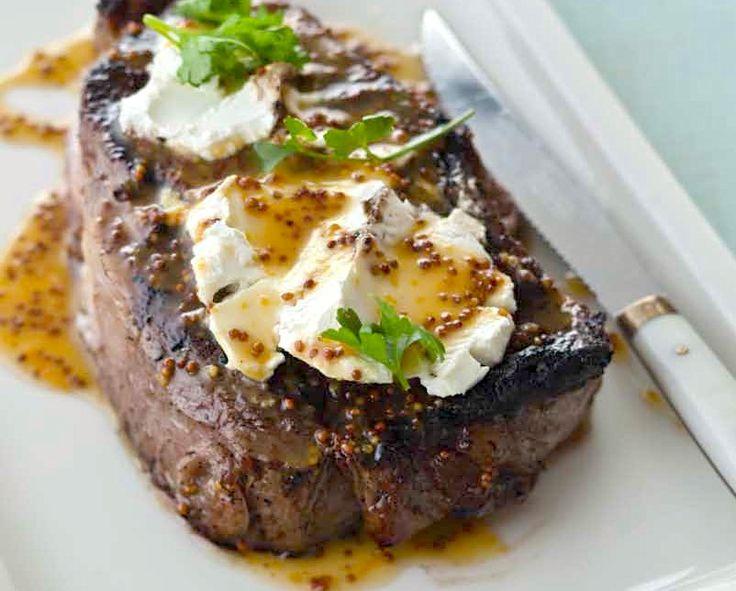 Steak Time! Ribeye With Goat Cheese And Meyer Lemon Honey Mustard Recipe