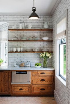 Rustic Reclaimed Chestnut rustic kitchen: open shelving