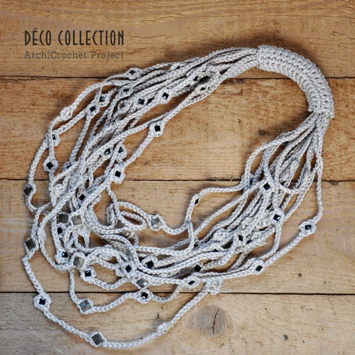 Multi-strand cotton necklace, chain necklace, crochet necklace, necklace with aluminum applications, handmade in Italy