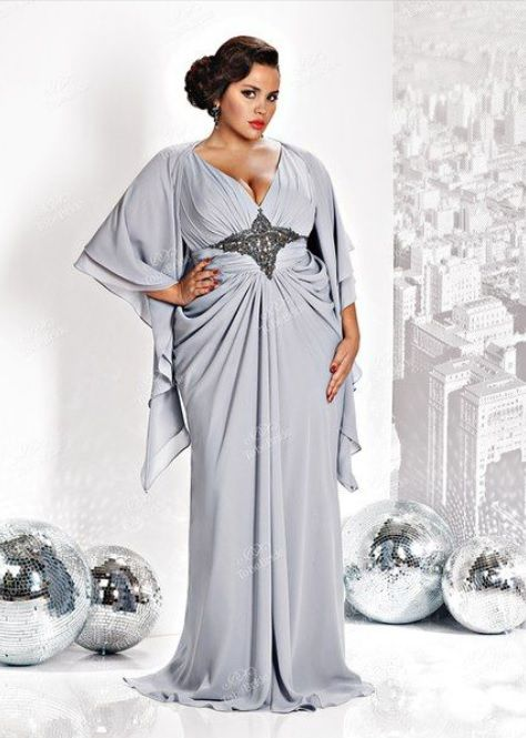 V neck plus size wedding dresses with sleeves can be made for you by our USA based company. This empire waist style evening gown is gathered in all the right places. Changes can be made. (Custom designs & replicas can be made too.) You can find other #plussizeeveningdresses for consideration at http://www.dariuscordell.com/featured_item/plus-size-evening-dresses-plus-size-ball-gowns/