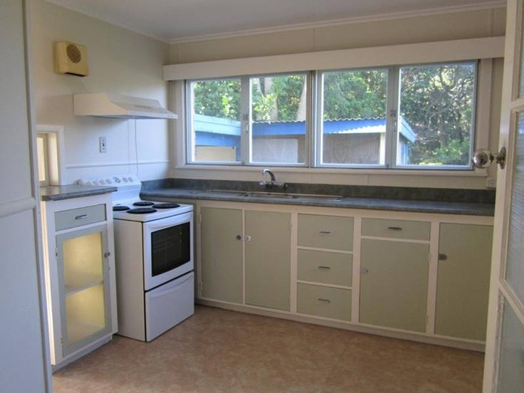 Cute 1950's or 60's kitchen, original cupboards, in 3 bedroom flat, in Banff St, Kensington, Whangarei. (in Jun 2012)
