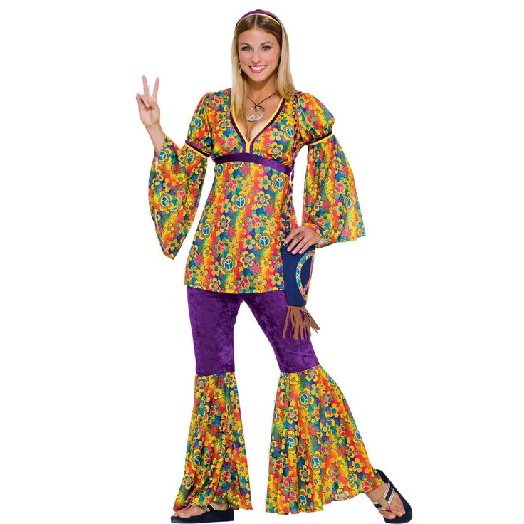 Purple Haze Hippie Adult Costume Includes: Headband, top and bell bottom pants. Purse, sunglasses and shoes not included. Weight (lbs) 1.22 Length (inches) 15 Width (inches) 11 Height(inches) 1.5