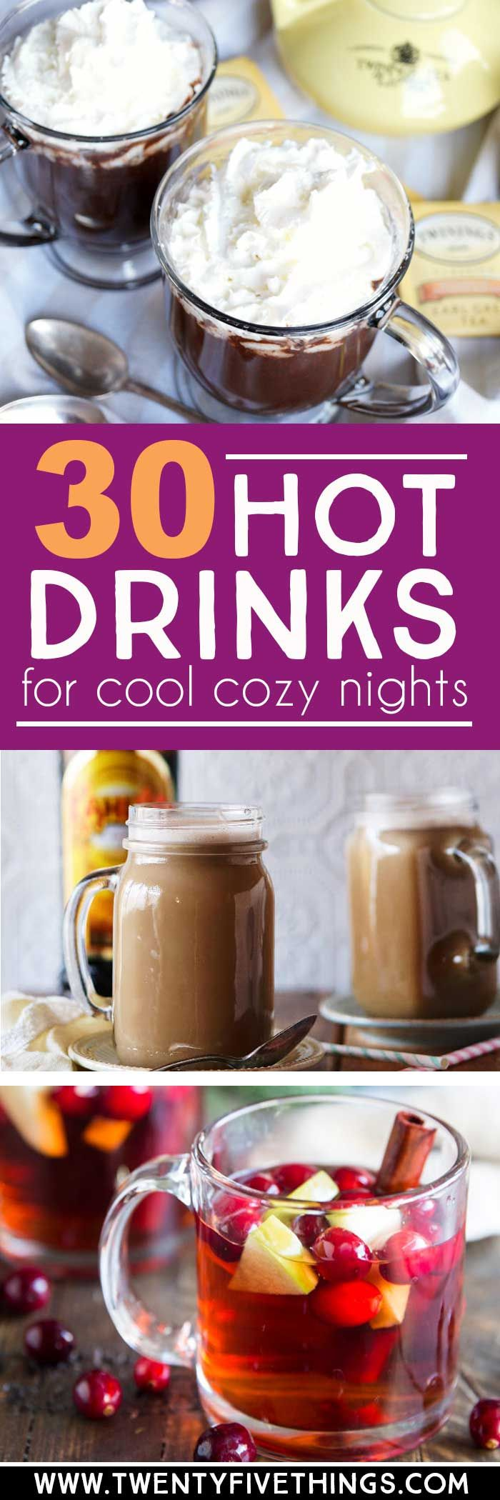 Hot drink recipes are here just in time for cool weather to set in. Choose one of these 30 hot drink recipes and cozy up with your favorite blanket tonight.