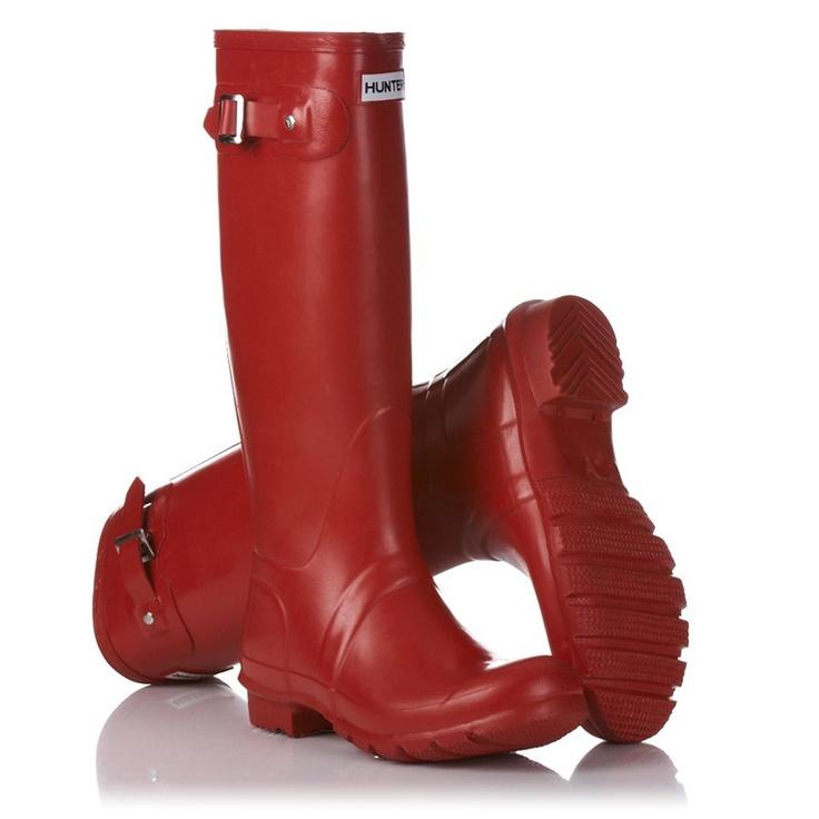 Hunter Wellington Boots - Hunter Original Tall Gloss Wellington Boots - Pillar Box Red