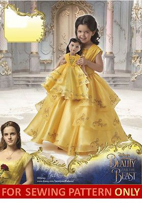 SEWING PATTERN! BEAUTY & BEAST BELLE MOVIE COSTUME~GIRL~ DOLL~FITS AMERICAN GIRL
