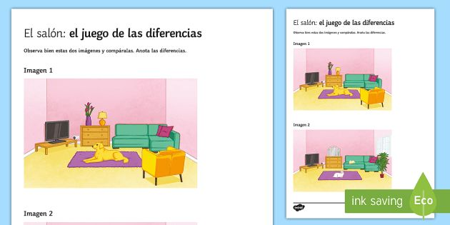 My Living Room Spot The Differences Game Spanish Speaking Practice Living Room House Spot