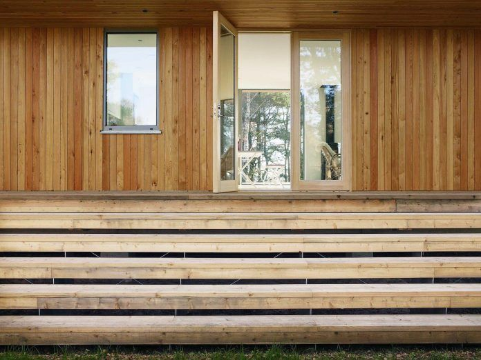 Wood Glass Frame Summer House Surrounded Woods Swedens
