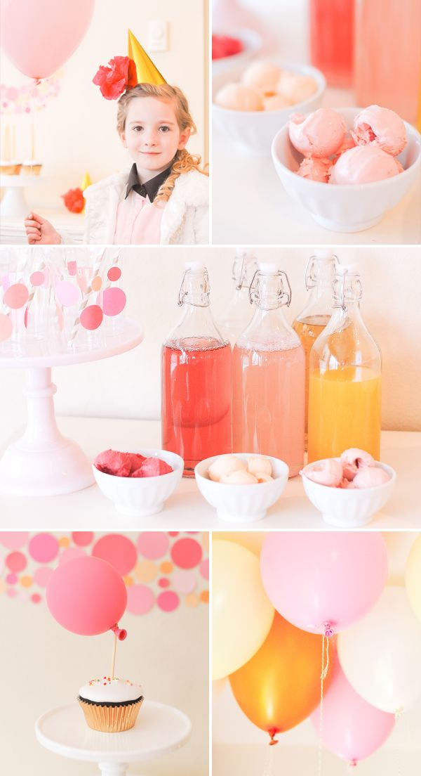a bubbly themed birthday: IKEA bottles filled with sparkling juices + bowls of sorbet for making fizzy floats {stevie pattyn for shop sweet lulu}