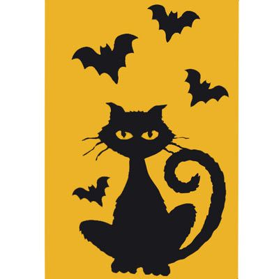halloween indoor window cling or hang decorations cat and bats - Black Cat Silhouette Halloween