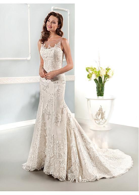 ELEGANT TULLE JEWEL NECKLINE NATURAL WAISTLINE A-LINE WEDDING DRESS IVORY WHITE LACE BRIDAL GOWN HANDMADE CUSTOM MADE