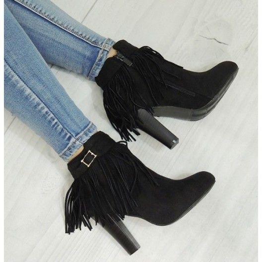 Elegantné členkové topánky v čiernej farbe semišové - fashionday.eu