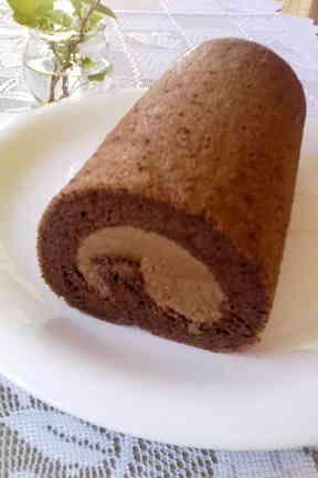 とろける〜♪シフォンのチョコロールケーキの画像