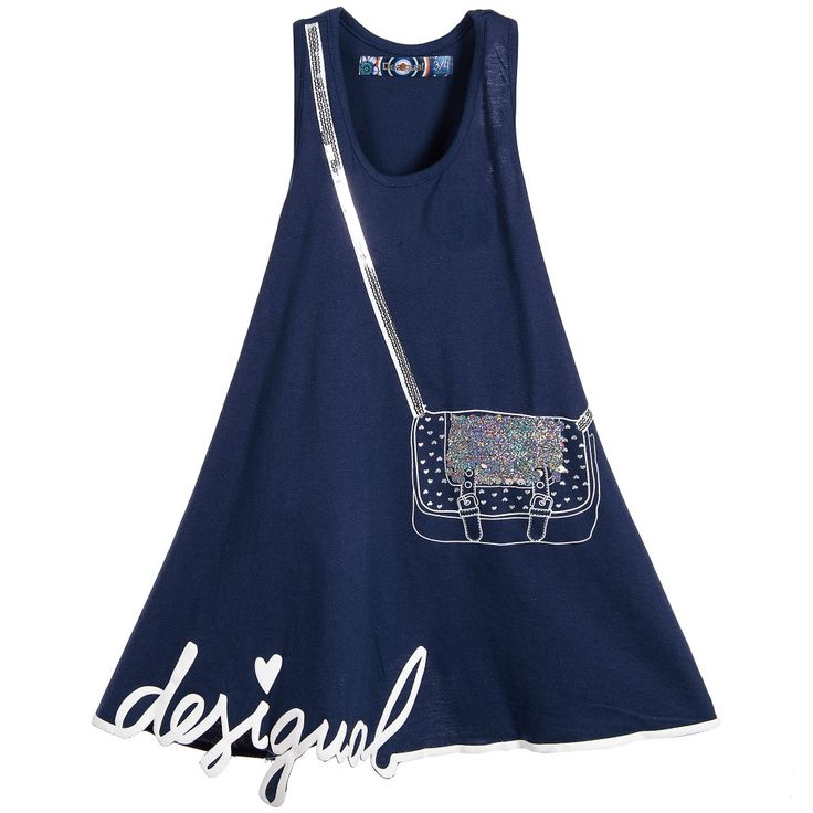 Girls navy blue dress by Desigual, made in soft cotton jersey. It has a racing style back and a full circle skirt which incorporates the designer's logo written in the hemline. The handbag print features a sequin appliqué which can be either pink or silver simply by brushing them in a different direction.