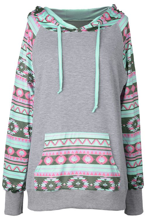 Add colors to your life with $22.99&Free Shipping! This mint ethnic splicing hoodie with front pocket will bring your bored life with lights. Hold this fantastic fall Now!