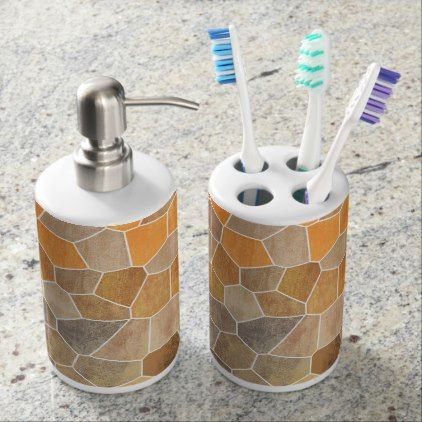Yellow Mosaic Soap Dispenser And Toothbrush Holder - home gifts ideas decor special unique custom individual customized individualized