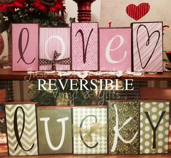 Reversible Valentine LOVE and St. Patty's Day LUCKY Wood Vinyl Block Set on Etsy, $35.00