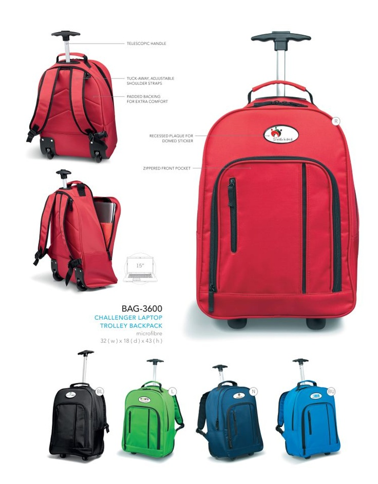 Do your staff or sport's teams often travel and need luggage?  We supply & brand a full range of luggage.   These particular trolley backpacks are great for people who take short trips as there is a space for packing and the all important laptop  This is also a popular item with high school's.   Another opportunity to get your brand moving!   For more information contact pact@live.co.za or via the wall or inbox of this page.   pact - Brand Solutions - Branding for good!