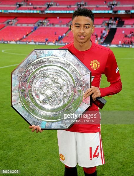 Jesse Lingard of Manchester United poses with the Community Shield after the…