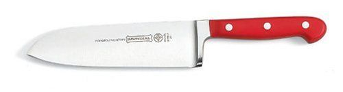 """Mundial 5100 Series 7"""" Santoku Knife, Red by Mundial Inc.. $40.09. Perfectly balanced ergonomic 3-riveted red handle. Quality and performance independently tested and verified. Fully forged, with a full tang and high-carbon stainless steel blades. Comes with a lifetime guarantee. Long-lasting razor-sharp edge. Mundial's 5100 Series Red adds a burst of color and contemporary style to a classic assortment of premium fully forged cutlery.  A chef's true individual style will com..."""